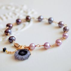 NEW Peacock Pearl Bracelet Druzy Charm Amethyst by livjewellery https://www.etsy.com/listing/211860398/new-peacock-pearl-bracelet-druzy-charm?ref=shop_home_active_20&ga_search_query=new