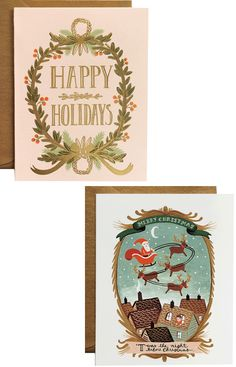 Gold Foil Garland Card and 'Twas the Night Card by Rifle Paper Co.