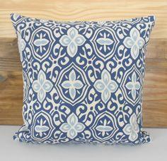 Both sides, Indigo blue floral geometric decorative pillow cover - $38
