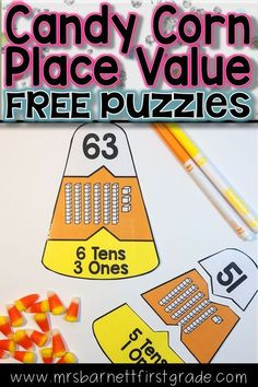 Have fun with this candy corn themed fun freebie to practice place value! It can be used whole group or as a math center. Have your students piece together three candy corn pieces with the same number represented on them.