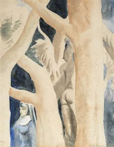 Leon Spilliaert, Veiled Woman Among the Trees, Night