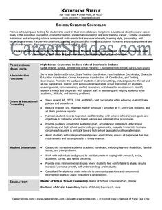 professional school counselor resume school guidance counselor resume sample example - Counselor Resume