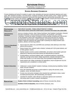 professional school counselor resume school guidance counselor resume sample example - School Resume
