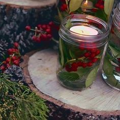 Create your own elegant candle votives with simple picks around the garden and home. Do you love the smell of fresh evergreen too? #gardenchat #mossmountainfarm #holidays #soiree #ShopPAllen #sharethebounty #candle #smile #comeseeus