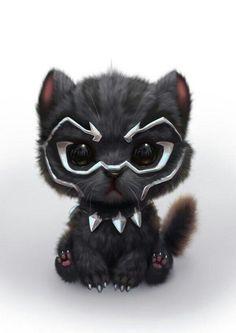 Black Panther as a cute Kitty Cute Little Animals, Cute Funny Animals, Cute Cats, Cute Animal Drawings, Cute Drawings, Kawaii Drawings, Marvel Art, Loki Marvel, Disney Marvel