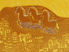 Galloping through the Sun by Luna North.  An original hand pulled print.