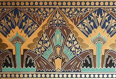 """""""Watkins Glen"""". The dynamic design and coloring of this frieze was the work of Dr. Christopher Dresser and came directly from the chromolithographed frontispiece of his 1873 book """"Principles of Decorative Design""""."""