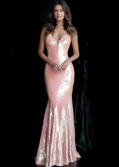 Jovani - 65070 Sequined Deep V-neck Mermaid Dress With Train – Couture Candy Fitted Prom Dresses, Prom Dresses Jovani, Designer Prom Dresses, Pageant Gowns, Formal Dresses, Dress Prom, Mermaid Skirt, Mermaid Gown, Sequin Evening Gowns