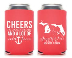 New to SipHipHooray on Etsy: Personalized Can Cooler Wedding Favors Wedding Can Cooler Custom Can Cooler Can Coolers Destination Wedding Beach Anchor Cheers (75.00 USD)