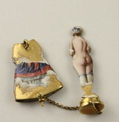 Superb-rare-14-ct-gold-enamel-Antique-Victorian-boxed-risque-lady-in-dress-charm