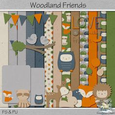 I have the first challenge freebie for August. This one is for Plain Digital Wrapper and it's called Woodland Friends. Scrapbooking Freebies, Digital Scrapbooking, Woodland, Challenges, Photoshop, Kids Rugs, Friends, Design, Amigos