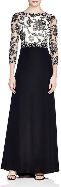 Tadashi Shoji Lace Bodice Gown