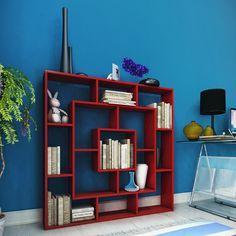 EN MODERN RAFLAR EN UCUZ FİYATA!!! Rafline Frame Kitaplık Kırmızı ,