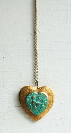 Mermaid LOVE  Big Heart LOCKET Necklace