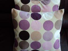 Throw Pillows Purple Mauve Plum Grape Brown Cream Spot Print Design circle disc two 18 inch cushion covers