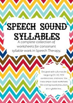 Speech Sound Syllables | Speech Therapy - A complete set of consonant syllables for speech and articulation therapy.