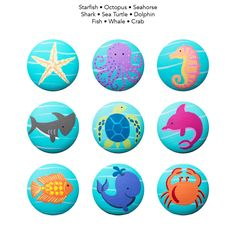 Hand Painted Knob - Children's Custom Hand Painted Marine Sea Life Critters Ocean Animal Drawer Knobs Pulls or Nail Covers for Kids by Coolisart on Etsy https://www.etsy.com/listing/48788982/hand-painted-knob-childrens-custom-hand