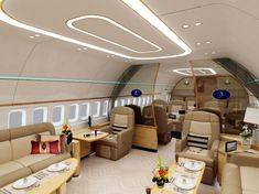 Interior, Perfect VIP Luxury Private Jets Interior: Luxury Private Jets Interior Bright White Design
