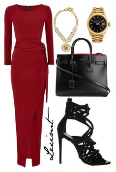 Untitled #457 by leximt on Polyvore featuring polyvore, fashion, style, Yves Saint Laurent, Rolex, Versace, Giuseppe Zanotti and clothing