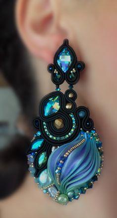 """""""Nefertari"""" Earrings (black version #2) - Designed by Serena Di Mercione - Beadembroidery and Soutache - Shibori silk, Swarovski, pearls."""