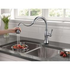Delta Cassidy Touch Single Handle Pull Down Sprayer Kitchen Faucet In  Arctic Stainless