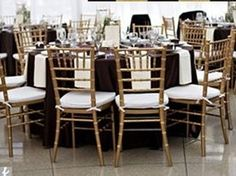 black satin table linens gold chiavari chairs | Weddings, Style and Decor | Wedding Forums | WeddingWire