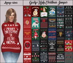 Geeky Ugly Christmas Jumper for The Sims 4