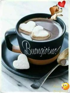 Italian Greetings, Gd Morning, Italian Memes, Coffee Pictures, Morning Greeting, I Love Coffee, Tea Cups, Snacks, Mugs