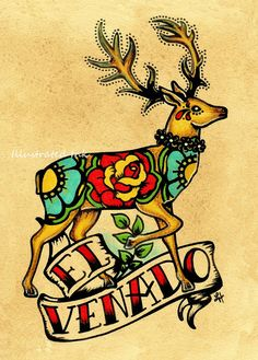 Mexican Folk Art Deer EL VENADO Loteria Print