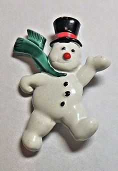 Vintage Christmas Pin Snowman Brooch Enameled by OodlesofBling, $10.00