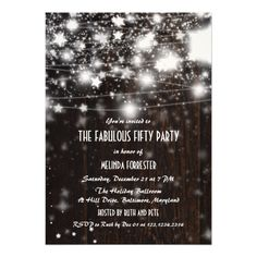 Rustic Wood Fabulous Fifty Party Shining Stars