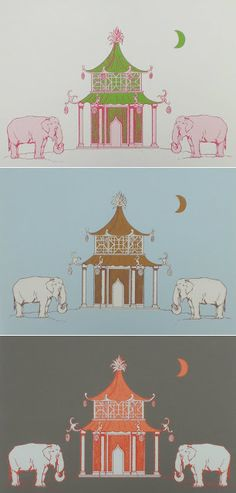 The Elephants remind me of Josef Franks iconic fabric and the pagoda...well what's not to love?