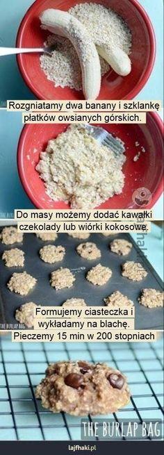 Beztłuszczowe ciastka owsiane - Rozgniatamy dwa banany i szklankę płatków owsianych górskich.         Do masy możemy dodać kawałki czekolady lub wiórki kokosowe.       Formujemy ciasteczka i  wykładamy na blachę.  Pieczemy 15 min w 200 stopniach