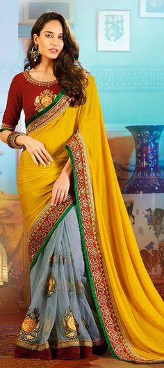 147837: #LisaHaydon #Bollywood #Saree #GetThisLook #Partywear #Festival #Ethnic #grey #Colorblock #Designer #Dualtone #Wedding #Bridal #Sale #Diwali #NewYear #OnlineShopping