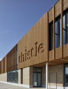 Thistle Foundation, Centre of Health & Wellbeing, Edinburgh, by 3DReid. Timber cladding, brick and pre-cast concrete to exterior. Photography courtesy of Cadzow Pelosi.