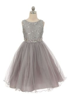 Girls Dress Style 340 - SILVER Sparkly Tulle Dress with Beaded Waist