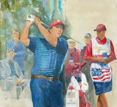 Walt Spitzmiller - Phil Mickelson 2009 President's Cup Original Oil on canvas Presidents Cup, Phil Mickelson, Golf Art, Sports Art, Caricatures, Oil On Canvas, Portraits, The Originals, Painting