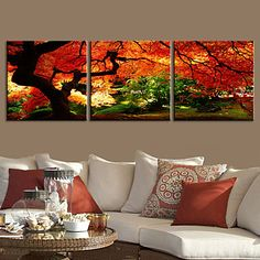 E-HOME® Stretched Canvas Art Landscape Go Deep Into a Forest Decorative Painting Set of 3 - USD $ 84.99