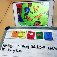 Using a picture on an iPad to motivate a young boy in year 3 to build some sentences using Widgit Symbols in Colourful Semantics, expanding on adjectives and then asking wh-questions about the picture. English Activities, Phonics Activities, Speech Therapy Activities, English Games, Primary Teaching, Teaching Kids, Colourful Semantics, Eal Resources, Talk 4 Writing