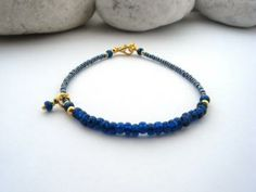 Bracelet, Blue Teal Beads, handmade minimalist Bracelet by LisaDeluxe for $17.92