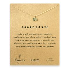 good luck elephant necklace, gold dipped - Dogeared love all the necklaces on this site. would make good gifts
