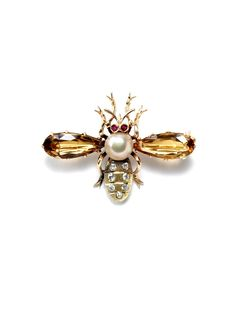 Vintage Citrine & Diamond Insect Brooch by Estate Fine Jewelry at Gilt