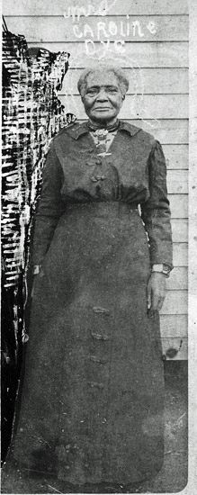 Aunt Caroline Dye was a famous hoodoo woman or two-headed doctor who lived in Newport, Arkansas…According to one blues historian (Stephen C. La Vere), she was born in 1810 and died in 1918 at the age of 108; according to another (Paul Oliver) she died in 1944. Neither story completely fits the evidence, however…  In any case, from this photo one can infer something else—Aunt Caroline Dye was a spiritualist as well as a root worker, for the crudely sketched aura around her head