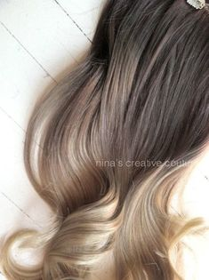 Ash Blonde Ombre Hair,  Ombre Clip In Hair Extensions, Dark Ash Blonde Hair, Light Ash Blonde Ombre, (7) Pieces, 16""