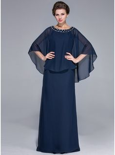 Sheath/Column Scoop Neck Floor-Length Beading Zipper Up at Side Sleeves Long Sleeves No 2014 Dark Navy Spring Fall Winter General Plus Chiffon Mother of the Bride Dress