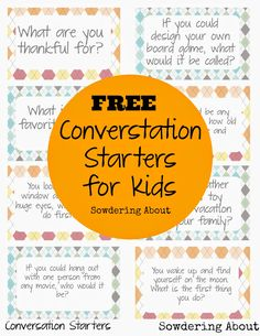 Free printable; Conversation starters for kids