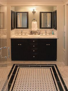Shower door handle/Master Bathroom - traditional - bathroom - san francisco - ACANTHUS Architecture & Design, San Francisco, CA Bad Inspiration, Bathroom Inspiration, Mirror Inspiration, Master Bathroom, Small Bathroom, Bathroom Black, Bathroom Ideas, Home Depot Bathroom, Bathroom Vintage