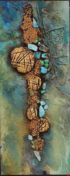 Sediment, 043018 by Carol Nelson mixed media ~ 9.5 x 4