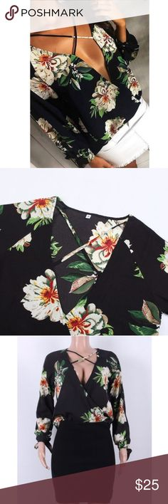 🌞NEW! Bandage plunge floral chiffon top🌞 Summer 2017 sexy floral long sleeve plunge deep v top blouse 🍾 Ask questions due to posh no return policy🍾 Sizing does run slightly small if in doubt go a size up🍾 Spend $75 get free shipping🍾  If you love urban outfitters nasty gal LF or asos you'll love this!   🌟suggested seller  🌟5 star seller 🌟host pick seller DIVIINE Tops Blouses