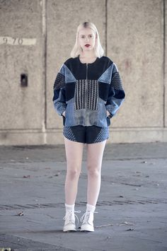 elina priha varsity collection from recycled denim « Outi Les Pyy Denim Fashion, Fashion Outfits, Old Jeans, Recycled Denim, Ss 15, Vintage Denim, Refashion, Diy Clothes, Blue Denim